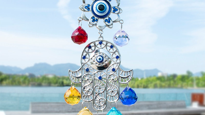 Crystal Balls Suncatcher Hamsa Hand of Fatima Turkish Blue Evil Eye