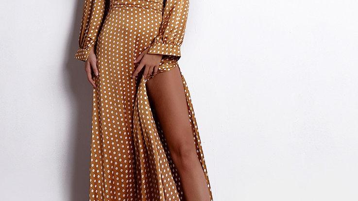 Tan Polka Dot Dress