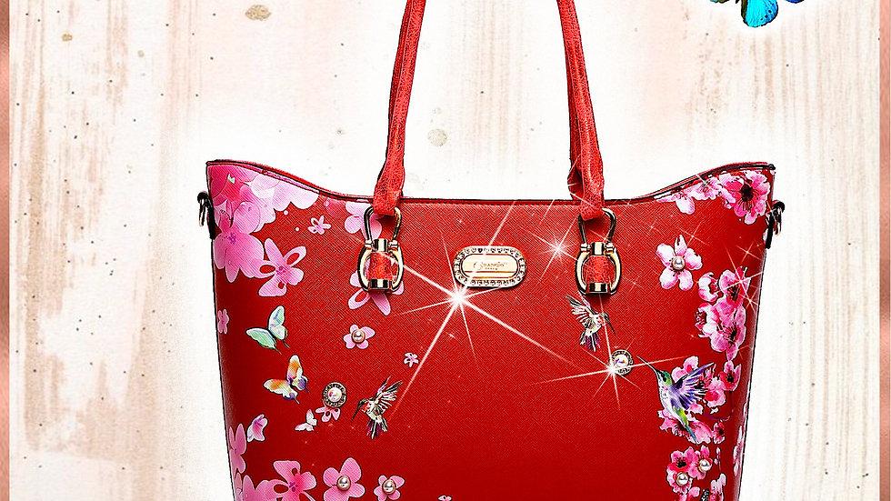 Hummingbird Bloom Scratch & Stain Resistant Top-Handle Bag