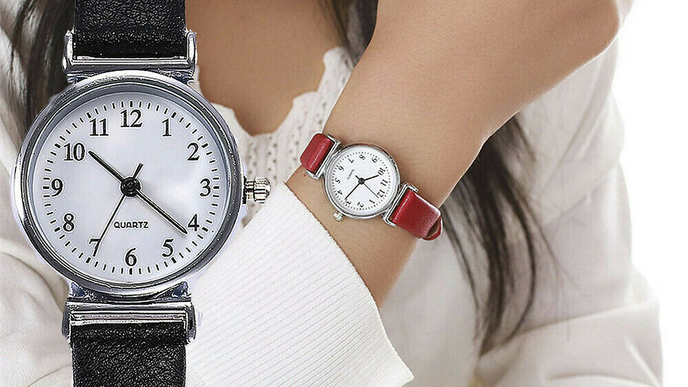Leather Band Strap Watch Round Analog Clock Wrist Watches