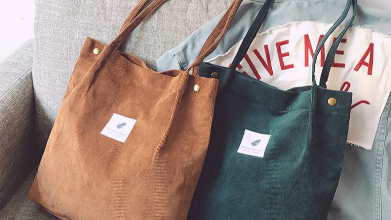 Handbags Student Corduroy Tote Bag