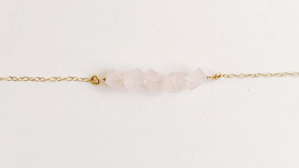 Rose Quartz Square Minimalist Necklace