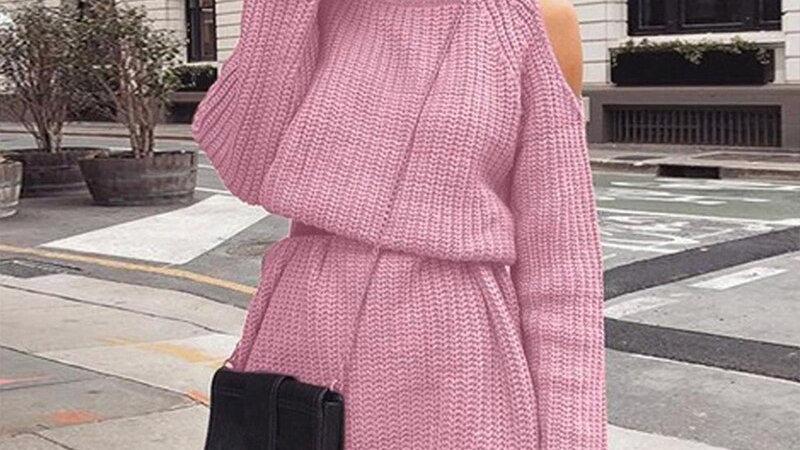 Turtleneck Off Shoulder Dress