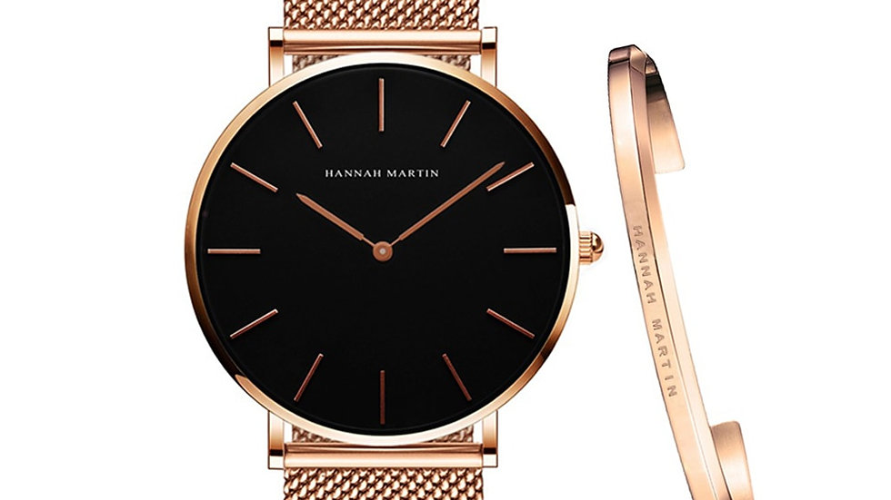 Quartz Movement Simple Waterproof Rose Gold Stainless Steel