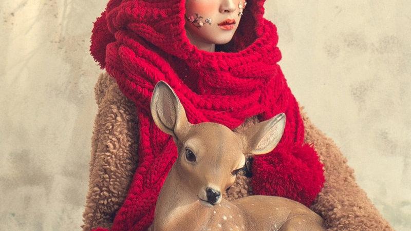 Warm Thick Handmade Beanie Scarf & Gloves Knitted