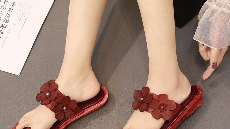 Summer Slippers Flat Flip Flops Genuine Leather Shoes Vintage Flowers