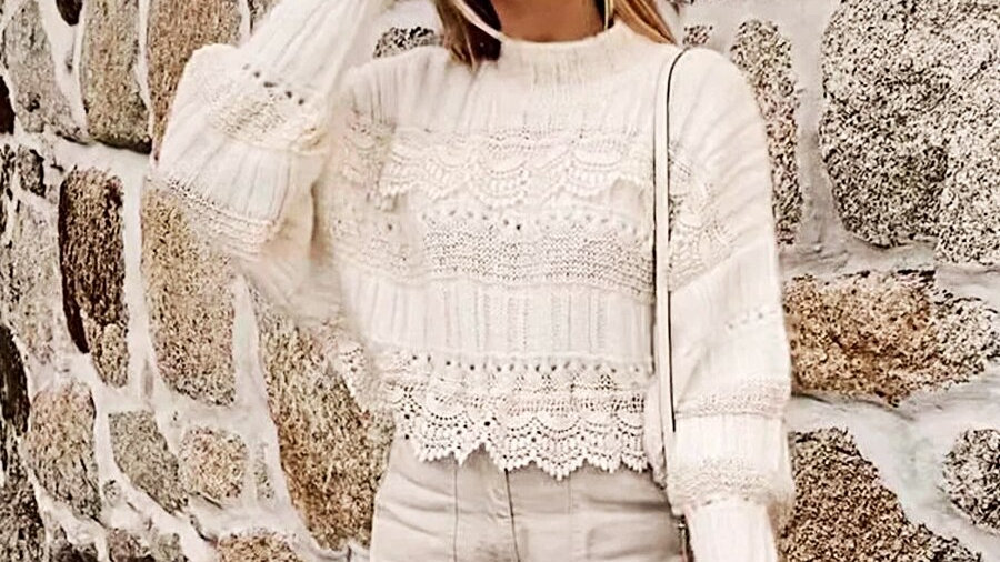 TEELYNN Lace Oversize Pullover Boho Sweater