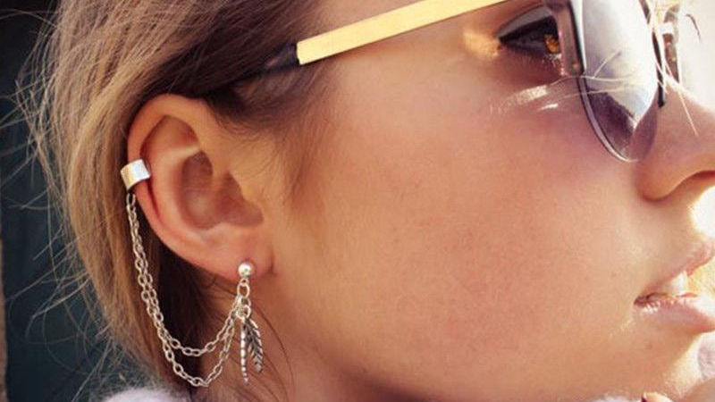 Silver Dangle Ear Cuff Clip Stud Wrap Earring With Chain