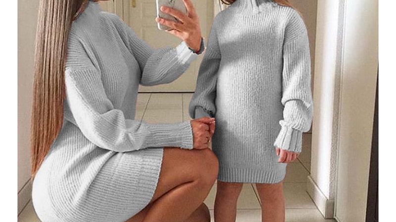 Baby Girl & Mom Solid Knitted