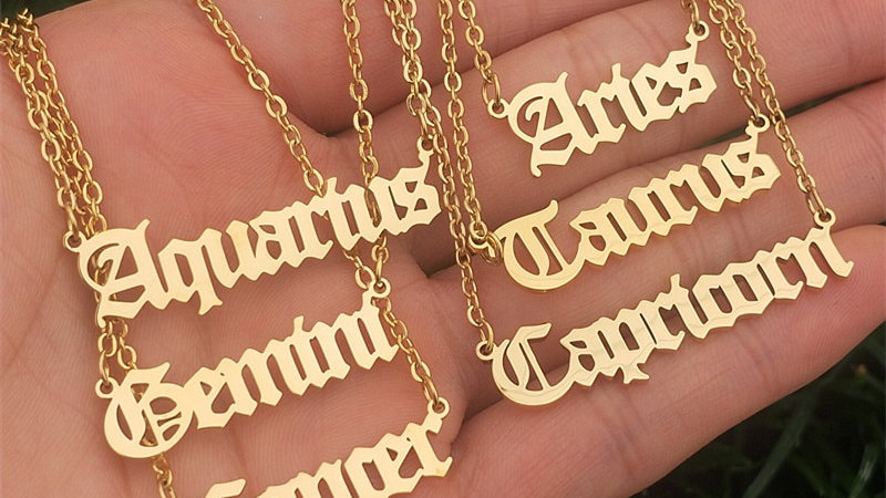 12 Zodiac Letters Pendant Necklace
