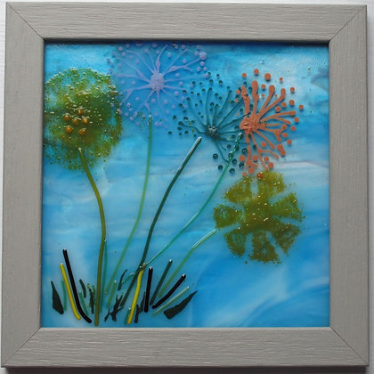 Dandelions, framed fused glass art