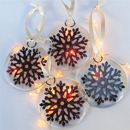 2 Large snowflakes in copper