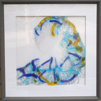 Wave form: Framed glass wall art