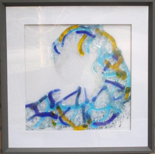 Wave form: Framed glass wall art