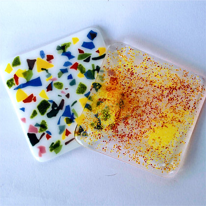 Abstract coloured coasters