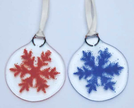 2 colourful Christmas snowflakes