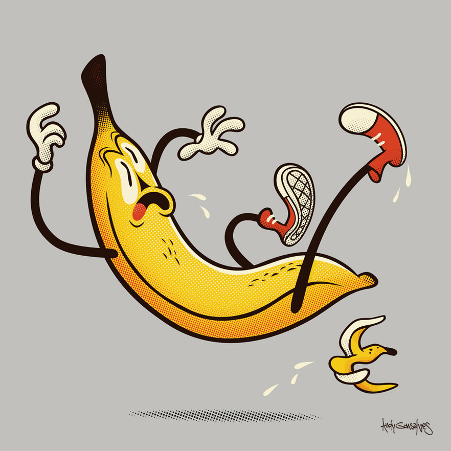 A Banana Slipping on a Banana Peel