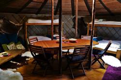 Hostel yurt interior