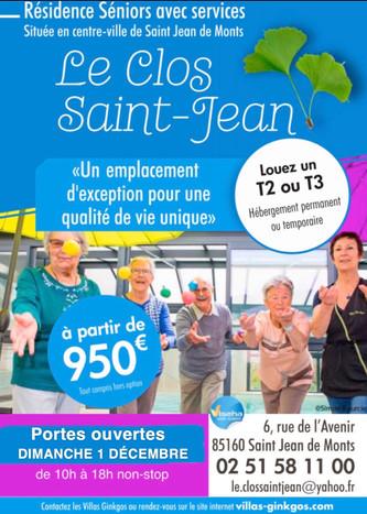 """Dimanche 1er décembre : PORTES OUVERTES à la résidence seniors """"LE CLOS ST JEAN"""" de St Jea"""