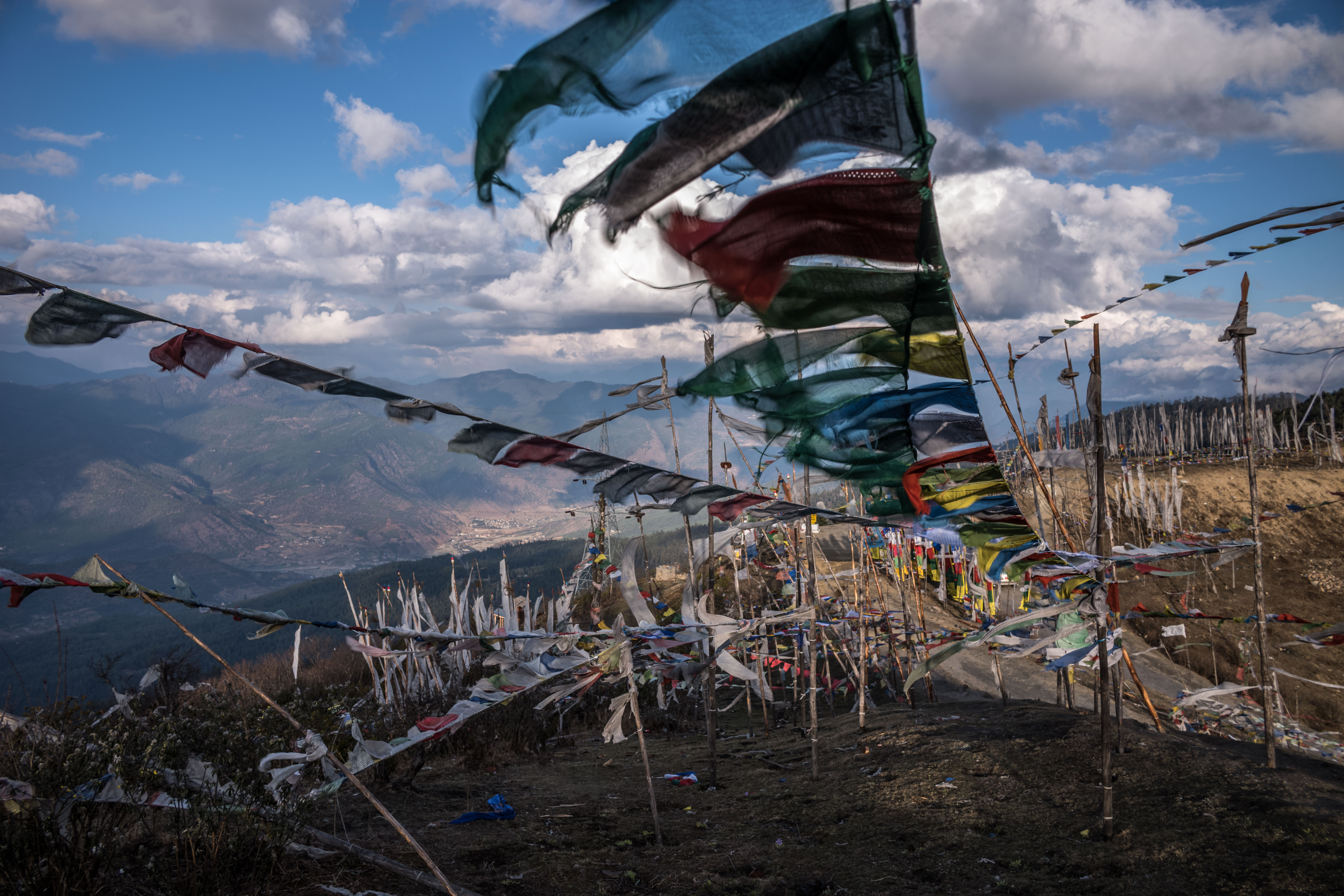 Prayer flags at Chelela Pass