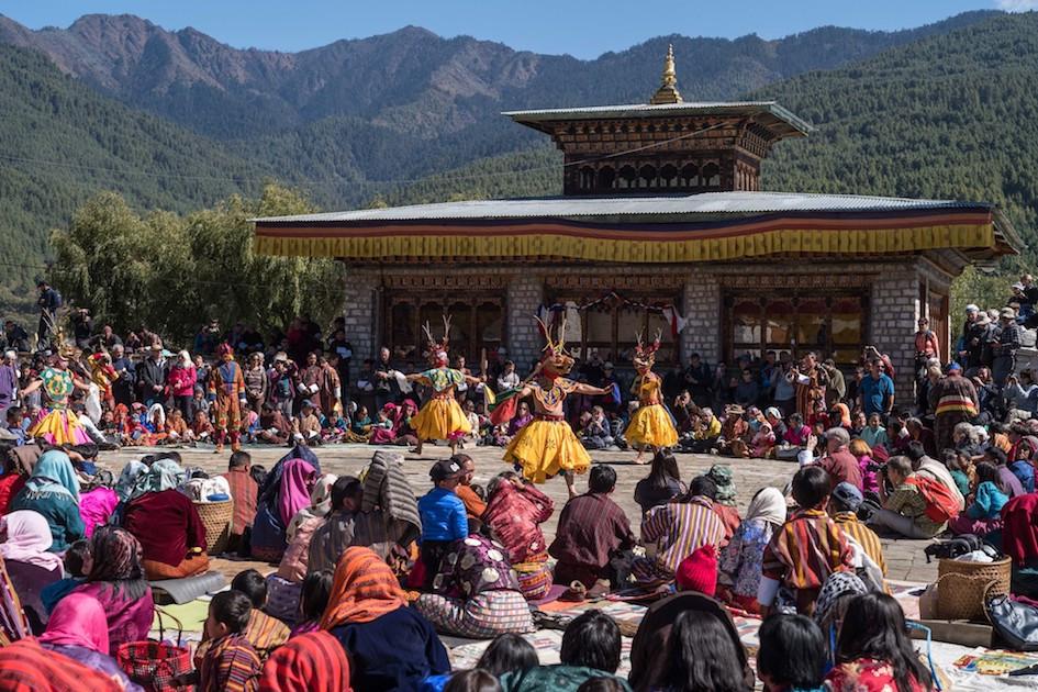 Mask dancers at Jambay Lhakhang Drup