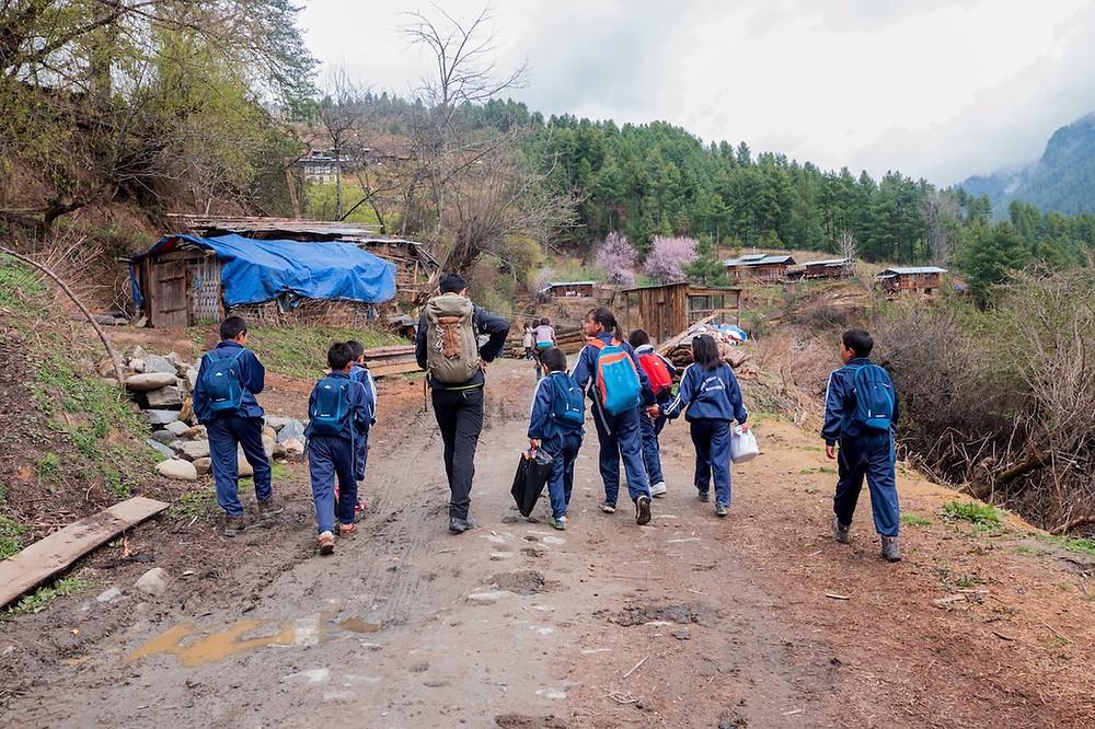 Picnic with school children in Bhutan