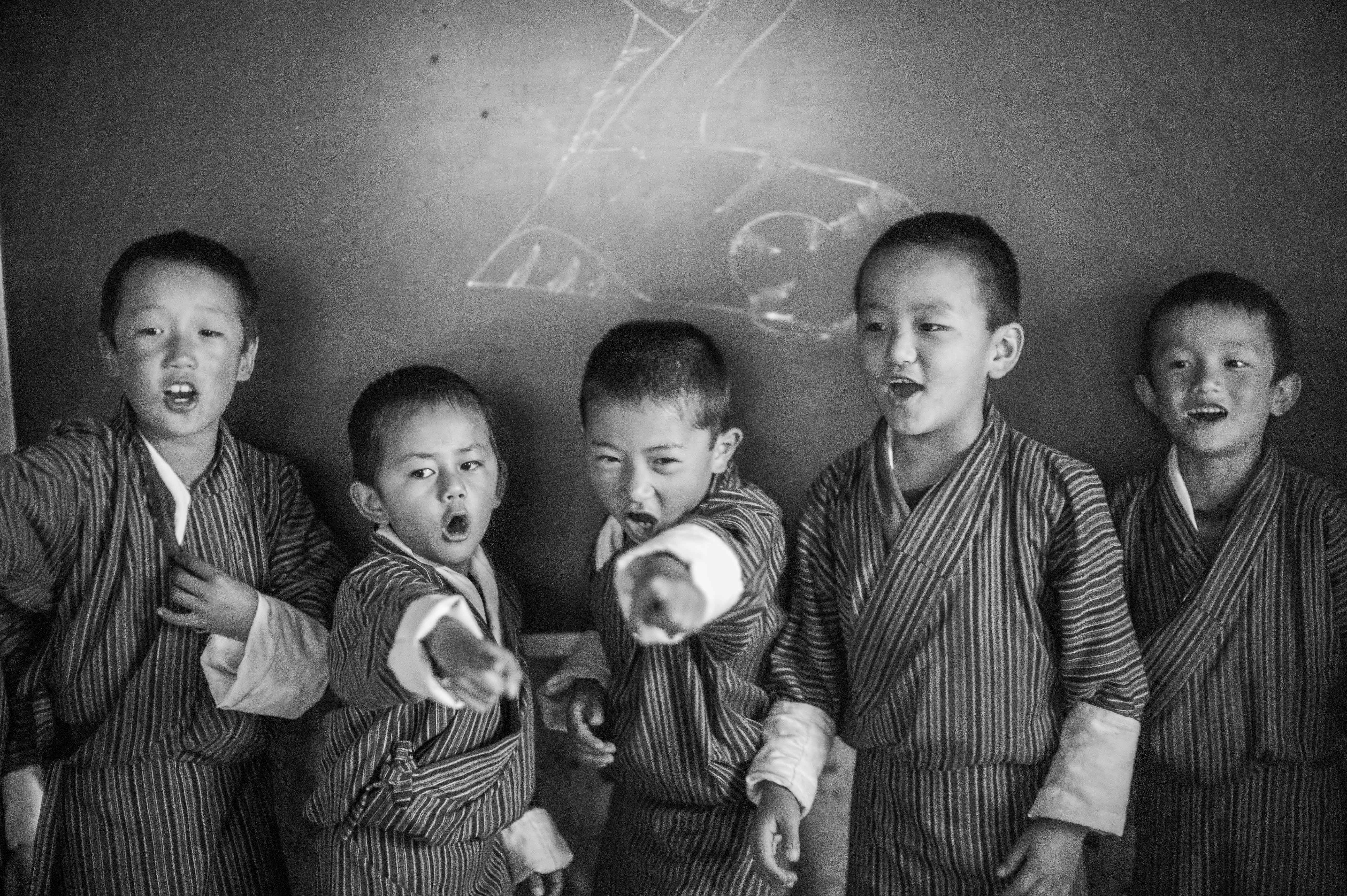 Bhutan school children playing