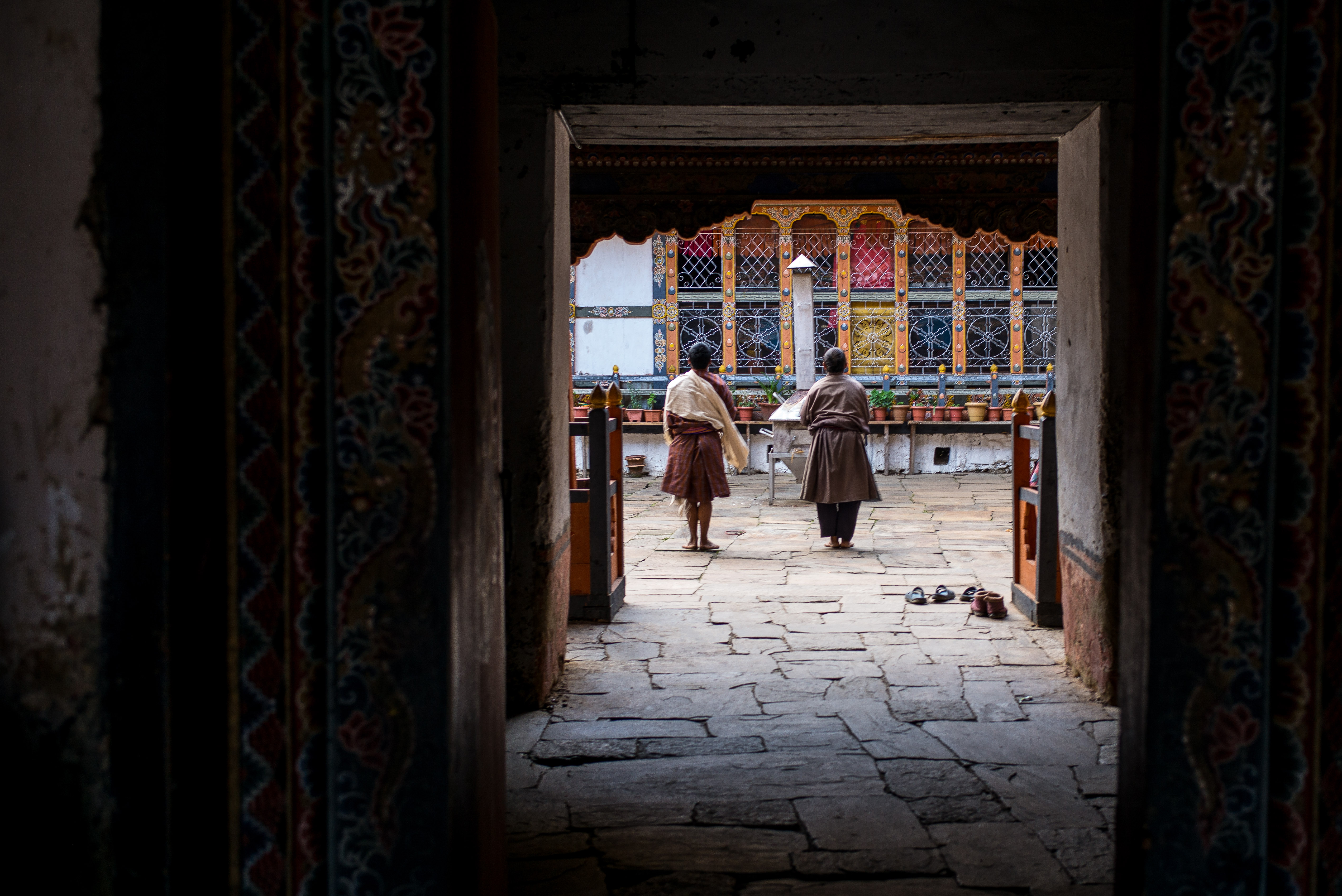 Praying in bhutanese temple