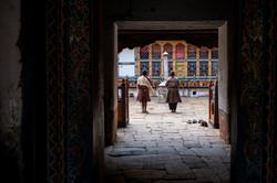 Praying in bhutanese temple