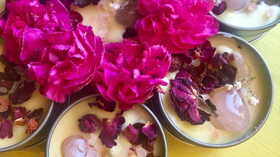 Lovin' Myself Beeswax Candle (Rose&Vanilla&RoseQuartz)