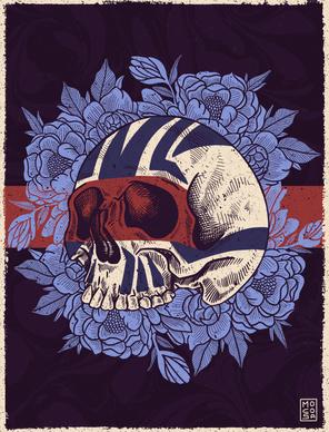 Skull Flowers Illustration - Procreate