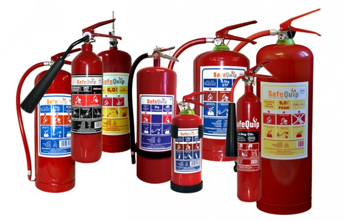 Various types of fire extinguishers
