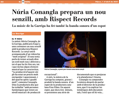 NURIA CONANGLA Single Diari noticia 9 no