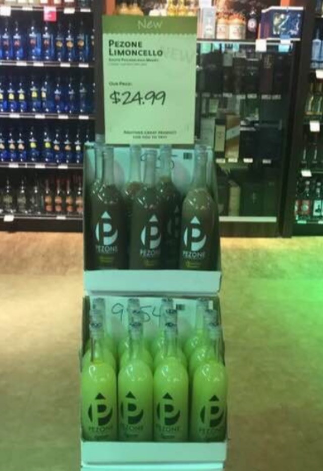Wine and Spirits displaying Pezone Cello