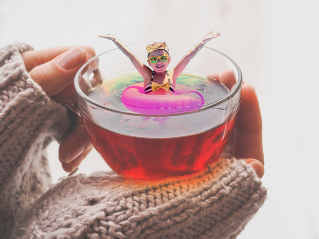girl in a cup of tea