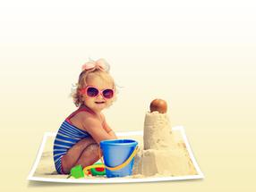 Girl on beach - warped photo