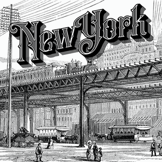 Vintage NY text with illustration