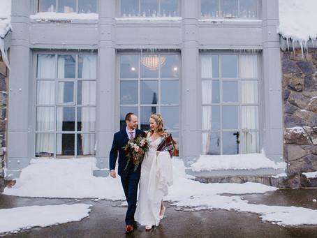 Kara + Michael Winter Wedding    @Timberline Lodge