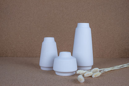 Weiße Keramik Vasen - Set