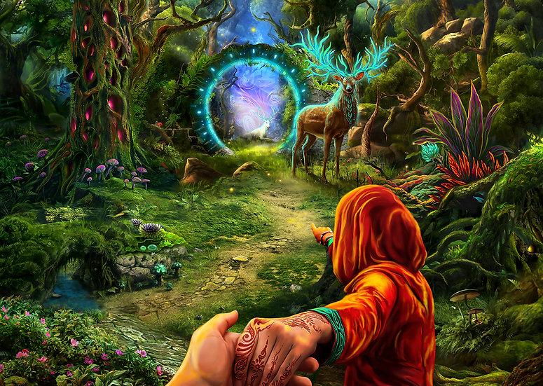 """Психоделічний фон """"Лісовий портал"""" флуоресцентний друк"""