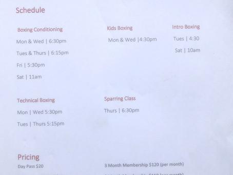 August 2020 Class Schedule
