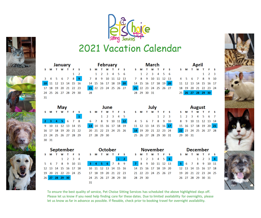 Pet Choice 2021 Vacation Calendar with p