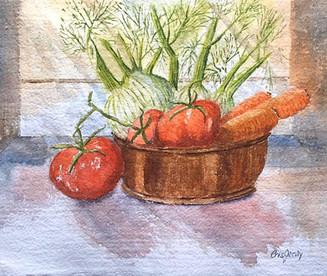 "Produce, 11x14"", watercolor"