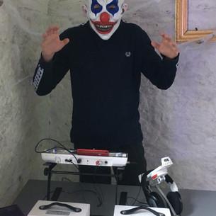 Halloween party DJ set up.