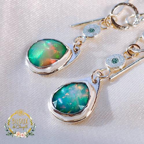 Natural Ocean-Blue Opals and Teal-Blue Diamonds Drop Earrings.