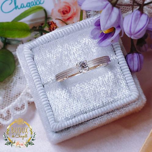 Classic 3mm Brilliant Cut Salt and Pepper Diamond Milgrain ring