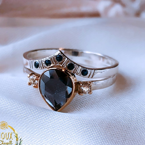 Alexandrite with Blue Sapphire & Moissanites ring set 9ct Gold & Silver ring set