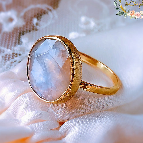 Rainbow Moonstone engagement, Statement 9ct or 18ct solid Yellow gold ring ring,