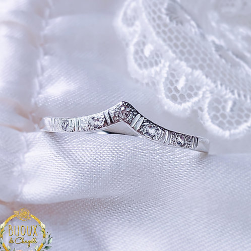 White Diamonds or Moissanite Diamonds Wishbone Sterling Silver Wedding band