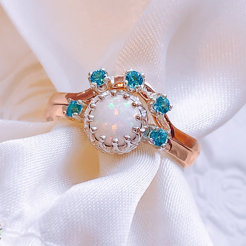Australian White Opal and Paraiba Topaz Crown Solid Gold and Silver ring set